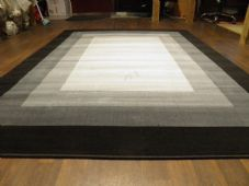 Modern Approx 8x5ft 160x230cm Woven Square Design Rugs Black Greys Bargain Price